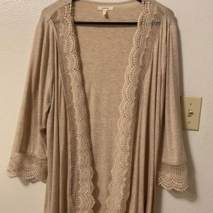 Maurice's Khaki cardigan w/ scallop lace detail